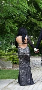 Black and Nude Lace Prom Dress
