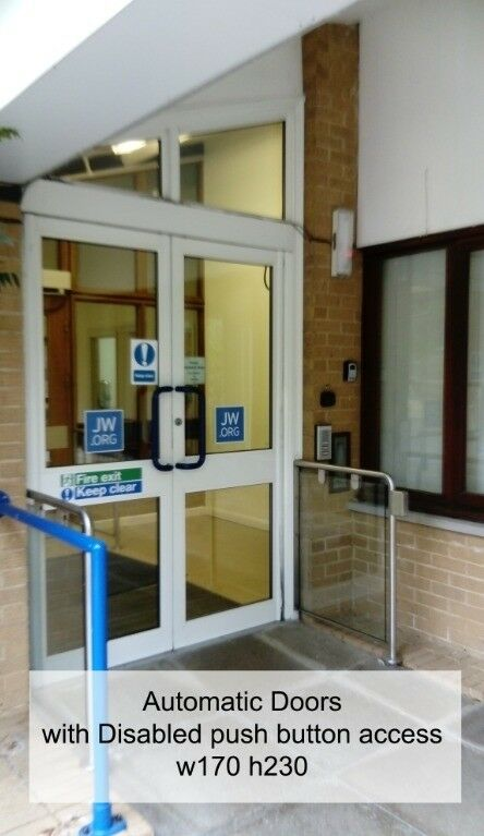 AUTOMATIC DOORS. Used Electric Powered Doors. Disable access push button. EXCELLENT CONDITION & AUTOMATIC DOORS. Used Electric Powered Doors. Disable access push ...