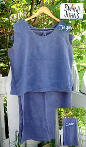 2-pc/Blue tank/skirt set/Cotton/summer