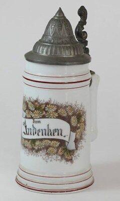 Boccale per birra in ceramica Zum Andenken con disegni floreali del 1900