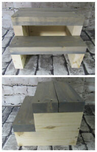 New Rustic Farmhouse Steps Gray stained steps and Natural Base