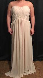 Champagne strapless bridesmaid dress