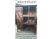 NEW RABBIT HUTCHES, Single, Double and Triple