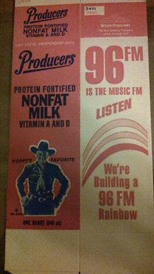 HOPALONG CASSIDY 1 QUART NONFAT MILK CARTON (UNUSED) 96FM 1 Quart Milk Carton