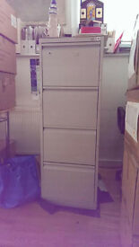 4 drawers filing cabinet, grey metal