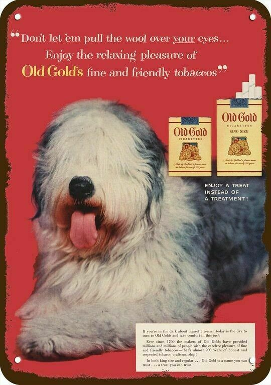 1954 OLD GOLD CIGARETTES Vintage Look REPLICA METAL SIGN - OLD ENGLISH SHEEPDOG
