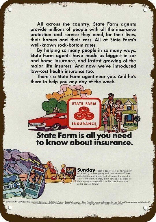 1968 STATE FARM INSURANCE Vintage Look DECORATIVE REPLICA METAL SIGN