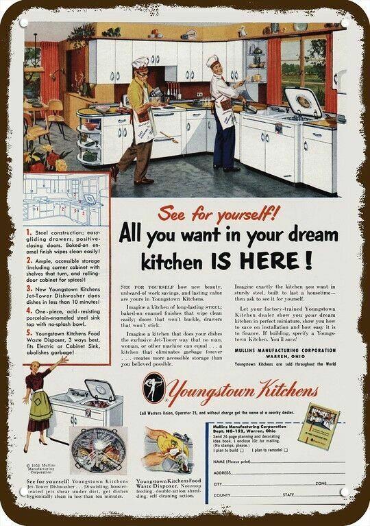 1952 YOUNGSTOWN KITCHENS Vintage Look REPLICA METAL SIGN - 2 GAY MEN COOK DINNER