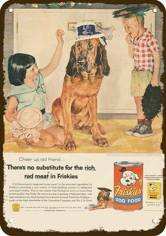 1955 FRISKIES DOG FOOD Vintage Look DECORATIVE METAL SIGN - CUTE BLOODHOUND DOG