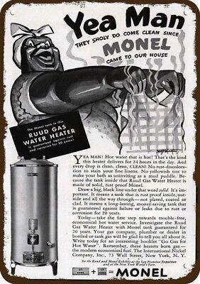 1939 MONEL RUDD WATER HEATER Vintage Look Replica Metal Sign BLACK AMERICANA Art