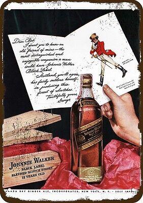 1942 JOHNNIE WALKER Black Label Whisky Vintage Look REPLICA METAL SIGN -DEAR BOB segunda mano  Embacar hacia Argentina