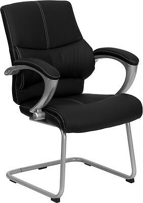 Black Leather Executive Office Side Chair - Office Guest Seating