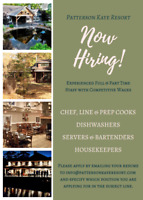 Hiring FT/PT: Chef, Line & Prep Cooks, Servers, Housekeepers