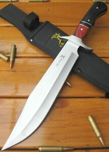 ELK RIDGE - LARGE Full Tang Bowie - Skinning Hunting Knife - two tone WOOD grips