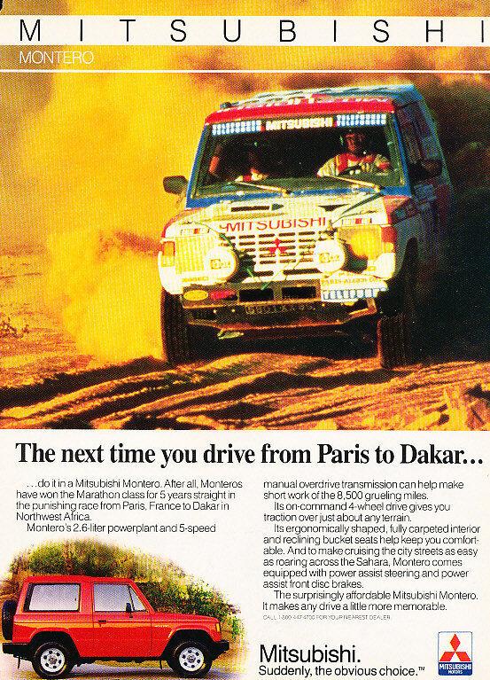 1986 Mitsubishi Montero - Paris - Classic Vintage Advertisement Ad D59
