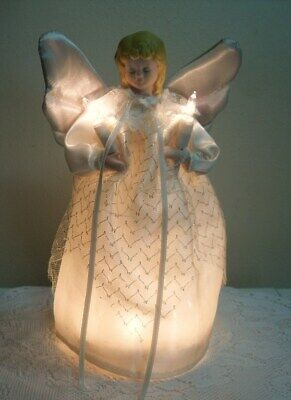 Angel CHRISTMAS Tree Topper 10 Clear Lights Porcelain Head Blonde Hair