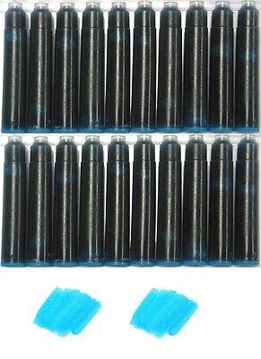 20 Fountain Pen Refill Ink Cartridges for Jinhao, Baoer & More - SEA GLASS BLUE