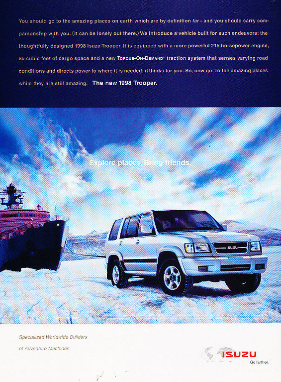1998 Isuzu Trooper - explore places - Vintage Advertisement Ad A26-B