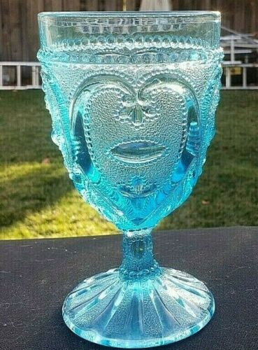"""L.G. Wright Blue Sweetheart 6 1/8"""" Water Goblet"""