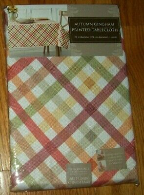 """Autumn Gingham Printed Tablecloth 70"""" Round - Orange Green Red Plaid NEW"""