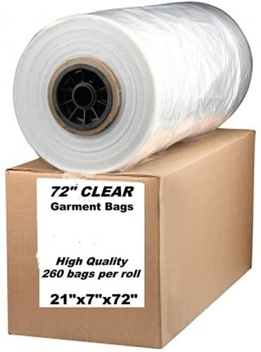 """Dry Cleaner Roll Clear Garment Bags 72"""" perforated for long dresses and garments"""