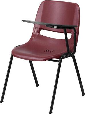 Burgundy Ergonomic School Chair Wleft Handed Flip-up Tablet Arm- Classroom Desk