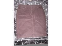 M & Co raisin coloured micro cord knee length skirt, petite size 12, perfect condition