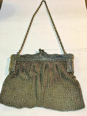 VINTAGE ANTIQUE ART NOUVEAU GERMAN SILVER MESH PURSE HALLMARK STAMPED