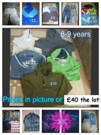 boys clothes 8 years and 8-9 years prices on pictures or £40 the lot no offers