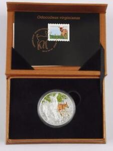 2015 $20 Baby Animals:White Tailed Deer Pure Silver Coin & Stamp