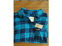 Hollister, size M blue checked shirt. With tags.