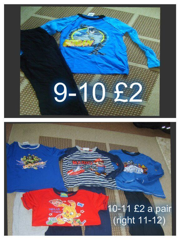 boys pj's 9-10 10-11 and 11-12 years hardly used £2 a pair onesie £2.50