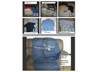 bundle of mens t-shirts size small---- jeans 28inch prices on pictures
