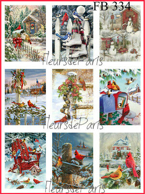 Vintage Christmas Winter Visitors Birds 9 Small Prints on Fabric Quilting FB 334