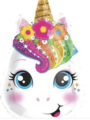 """Face Balloons ((4) - 18"""" Unicorn Face ShapeMylar Foil Balloon Party)"""