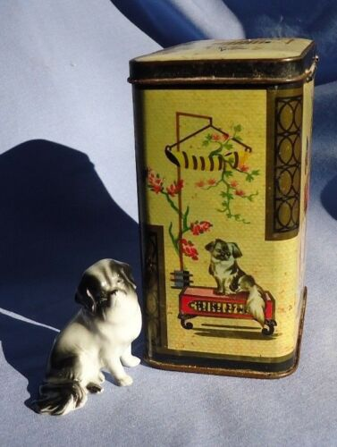 JAPANESE CHIN TIBETAN SPANIEL PEKINGESE tea tin figurine Germany England dog