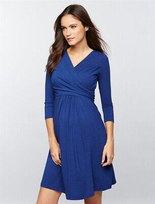 Isabella Oliver Maternity Emily cobalt jersey wrap nursing dress Sz 3 US 8 -