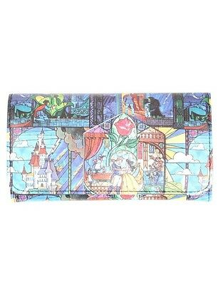 Disney Beauty & The Beast Stained Glass Trifold Flap Wallet Gift New With Tags!