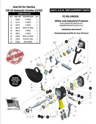 Seal Kit - Stanley Gr-29 Hydraulic Underwater Grinder Kit No. 16969 Pack Of 10