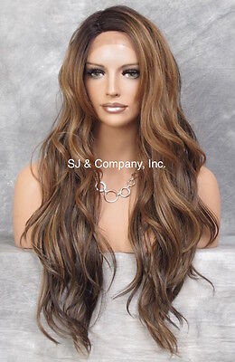 Human Hair Blend Mono Top LACE FRONT WIG Brown Auburn Blonde AUR Heat OK 7002