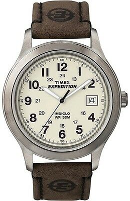 """Timex T49870, Men's """"Expedition"""" Brown Leather Watch, Indiglo, Date, T498709J"""