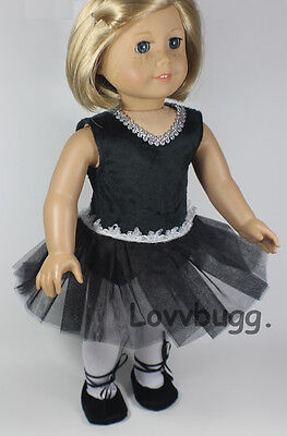 """Lovvbugg  Black Ballerina Complete Set for 18"""" American Girl and Bitty Doll Clothes"""