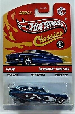 HOT WHEELS 2009 CLASSICS SERIES FIVE  59 CADILLAC FUNNY CAR METAL ON METAL 1/64