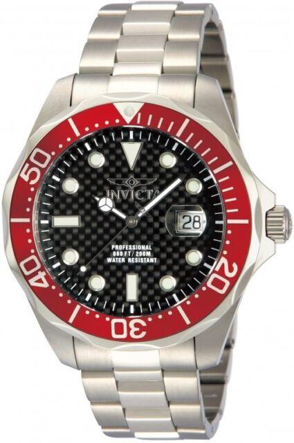 Invicta 12565 Pro Grand Diver Black Carbon Fibre Bracelet Stainless Steel Watch
