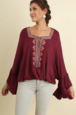 Embroidered Square Neck Medieval Peasant Gypsy Blouson Top 283 mv Blouse S M L](Medieval Peasant Blouse)