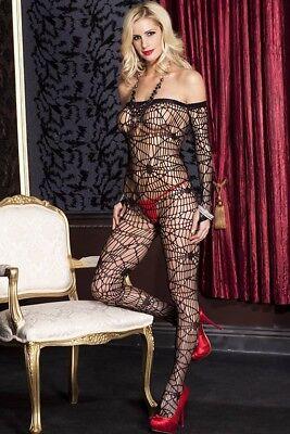 Spiderweb Net Mesh Black Long Sleeve Lace Off Shoulder Bodystocking Pantyhose ()