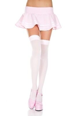 Music Legs 4745 Baby Pink Opaque Thigh High Stockings Costume Rave Gogo - Costume Stockings