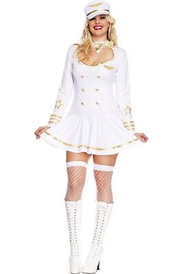 Female Marine Costume (Plus Size Adult Woman Costume Dress & Hat Navy Marines Naval)