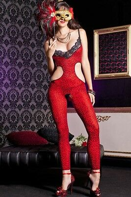 Red Leopard Cut Out Lace Bodystocking Footless Opaque O/S 1446 Animal Print - Lace Footless Bodystocking