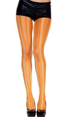Vertical Stripe Orange Stripey Striped Tights Opaque Sheer Rocker Punk Halloween - Halloween Orange Striped Tights